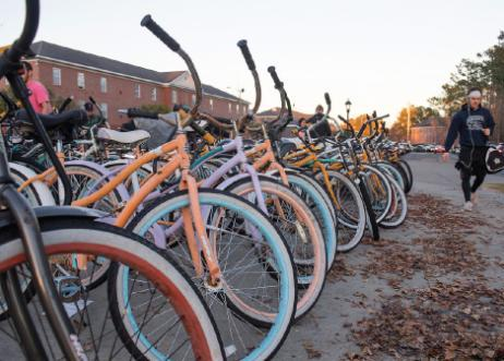 Row of bikes outside the HTC Center