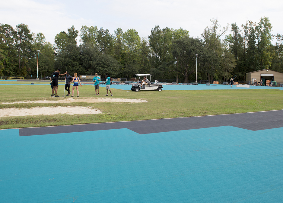 Image of CCU teal track resurfacing project.