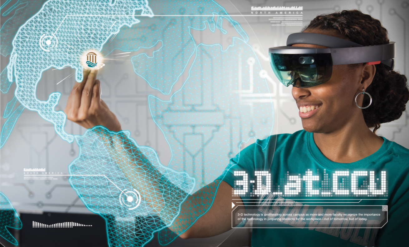 Coastal Carolina University New Media student Leslie Benning works with the Microsoft HoloLens to manipulate a holographic image.