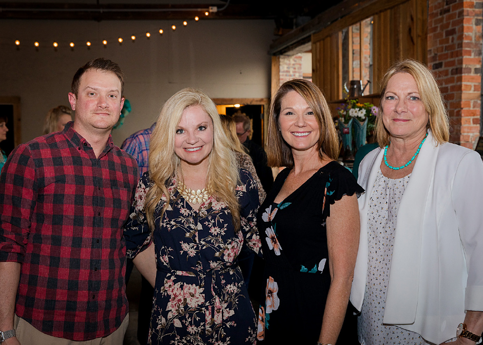 Devin Parks '08, Kelly Moore '05, Leigh Anne Gaskins '98, Cheryl Honeycutt at the third annual Boots and Bronze CCU alumni event.