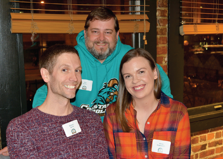 Andrew Nevitt '10, Brian Bunton, Alyssa Englebrecht '10 enjoying the CCU alumni gathering in Seattle.