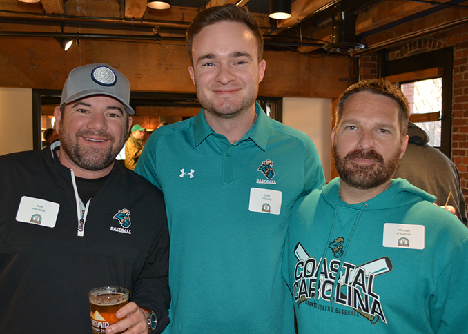 Neal Hendrick, Cole Schaefer, and Michael O'Sullivan Johnson enjoying the CCU alumni gathering in Seattle.