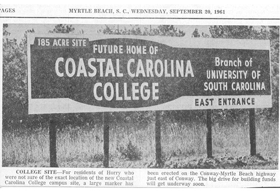 Image of news photograph announcing site of new campus in 1961