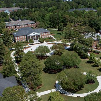 Aerial photo of Campus showing Blanton Park and Singleton Building