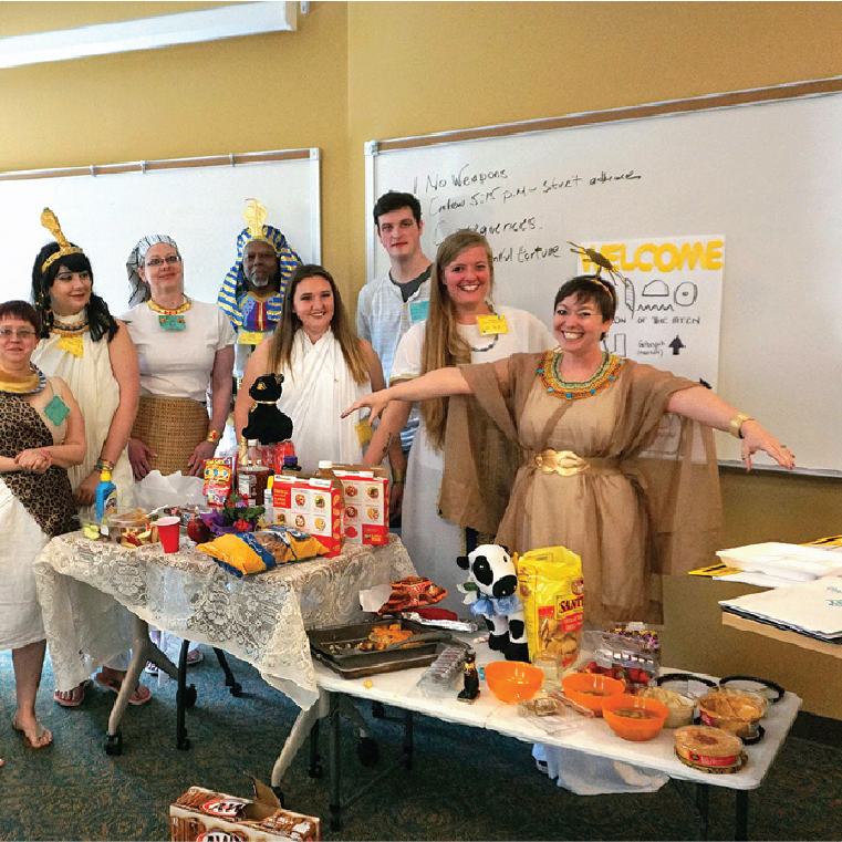 Students dressed in Egyptian costumes in a Reacting to the Past history course.