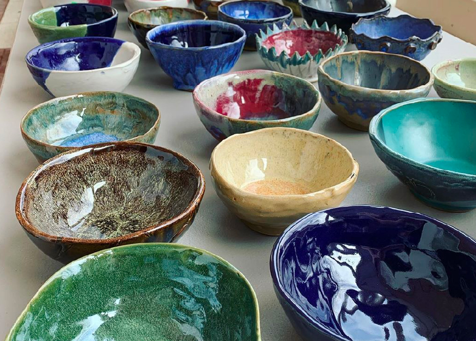Photo of finished empty bowls project.