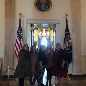 Dyer Fellows visit White House in Washington D.C. Fellows prepared to enter the Blue Room of the White House. Photographed (L to R): Celeste Benson, Maria Karahalios, Bethany Bebik, Rachael Houston and Ariel Lasher.