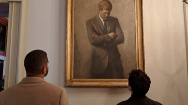 Fellows Nicholas Smith and John Quinn admire the Kennedy portrait outside of the Red Room in the White House. (Dyer March 2018)