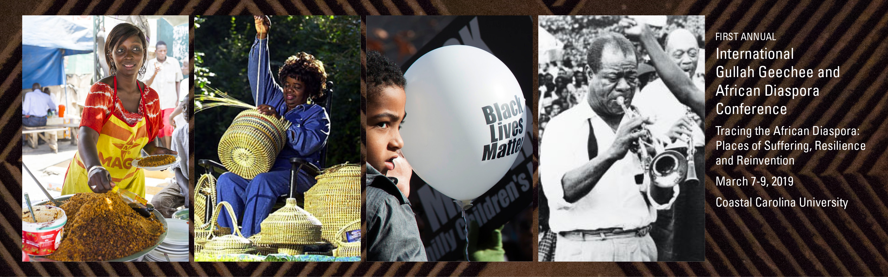 Series of images for African Diaspora, Ghanian woman cooking, Gullah woman weaving baskets, African American child with Black Lives Matter Balloon and Louis Armstrong on his trip to Africa.