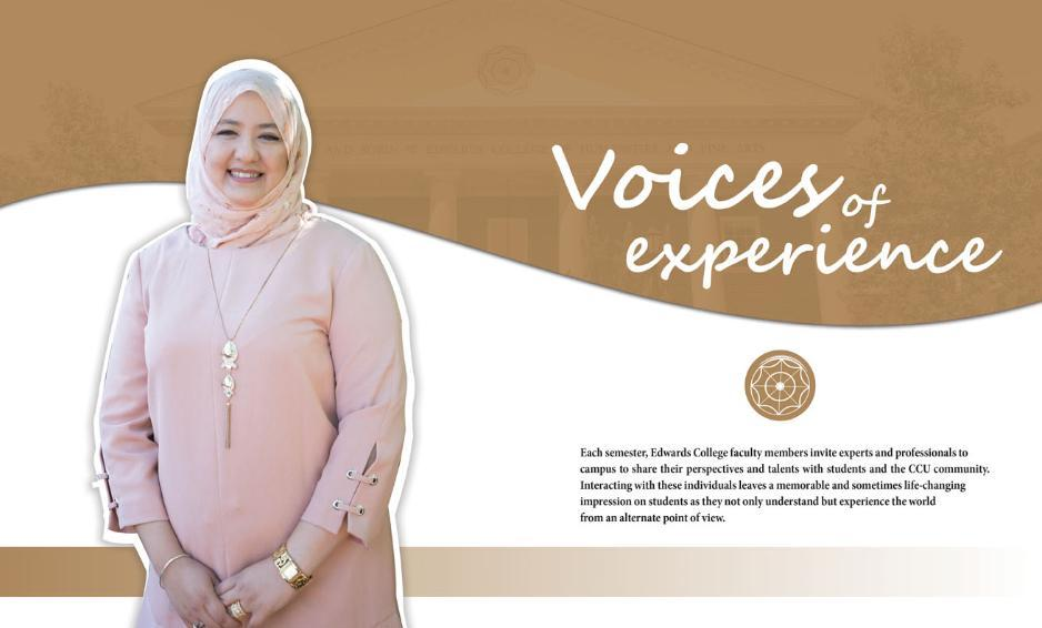 Voices of Experience 2018  Icon image (1311x791) Tapestry Fall 2018 photo of Mimouna Zitouni (visiting professor)
