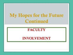 Continued faculty involvement image