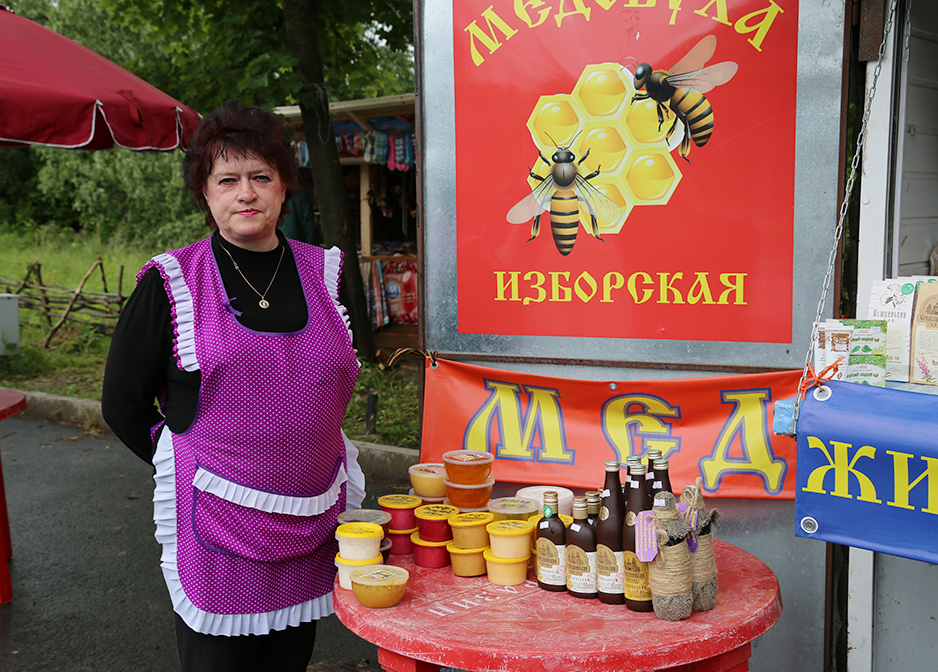 a roadside shop sells locally produced honey
