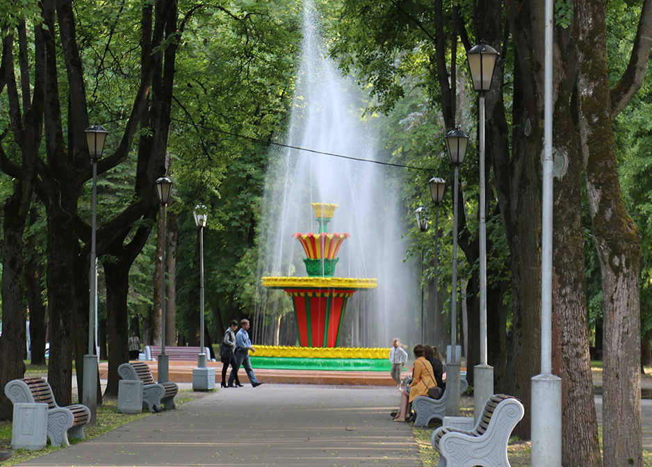 A fountain in a park in Pskov, Russia