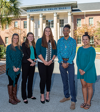 Image of Swain Scholars 2018-2019: (from left) Rachael Trudon, Hailey Wimmenauer, Kassidy Smith, Jeremy Evans Amber Rahman