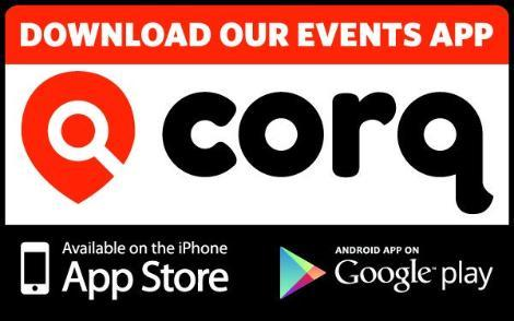 Corq app logo explaining that you can download it in the app store or google play