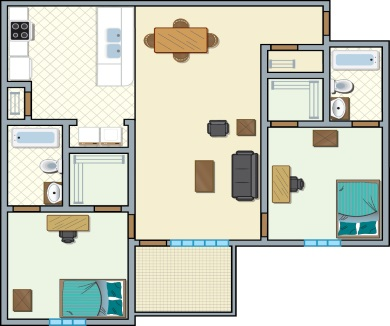 University Place Redtops - 2 bedroom, 2 people
