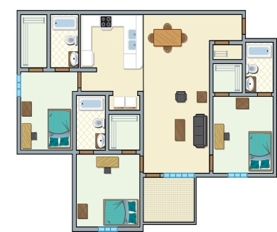University Place Redtops - 3 bedroom, 3 people