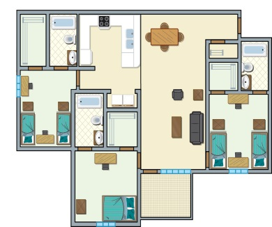 University Place Redtops - 3 bedroom, 5 people