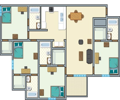 University Place Redtops - 4 bedroom, 4 people