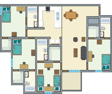 University Place Redtops - 4 bedroom, 5 people