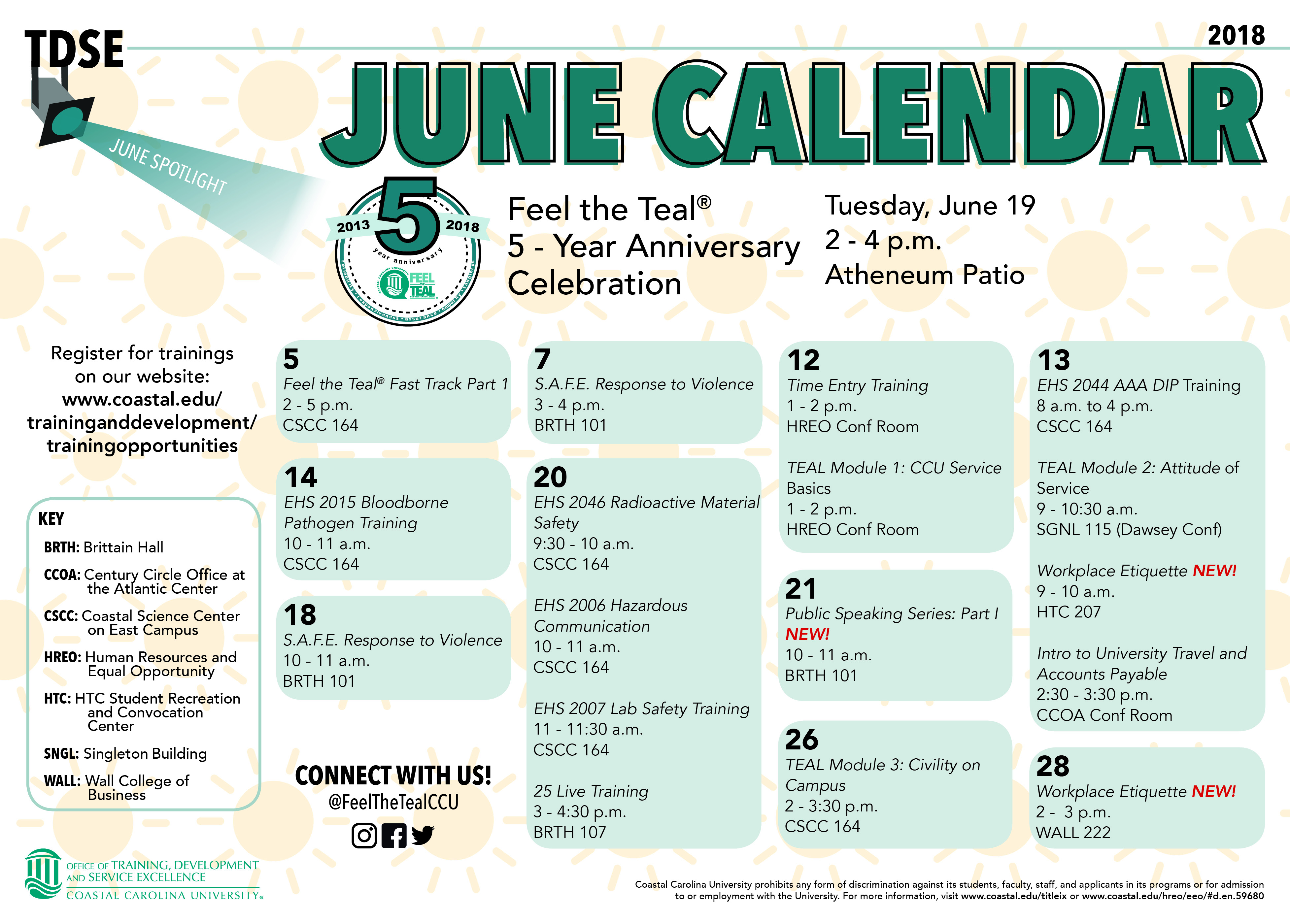 Picture of June 2018 calendar offerings