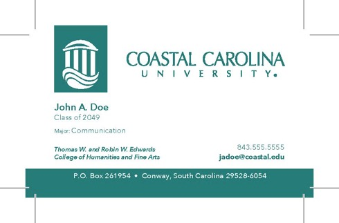 Example of a University business card.