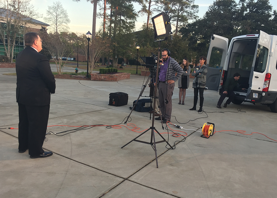 Shooting a commercial spot for the CCU president