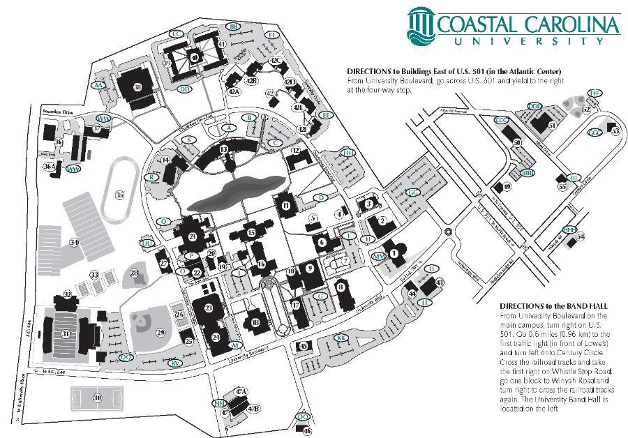 Coastal Carolina Map Coastal Carolina University   Parking Information Coastal Carolina Map