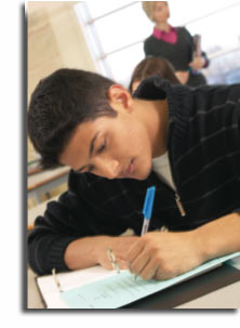 Photo of boy taking a test
