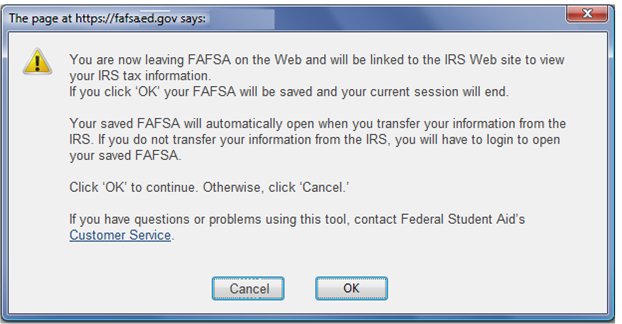 FAFSA On The Web Screen 1