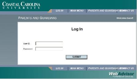 Screenshot of WebAdvisor login screen