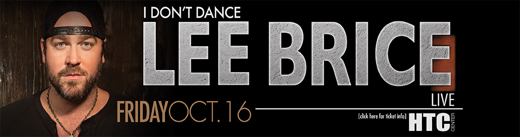 Graphic banner and link to ticket information for Lee Brice concert, Friday, October 16th.