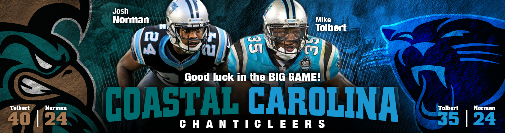 Graphic banner wishing good luck to former Chanticleers and current Carolina Panthers Mike Tolbert and Josh Norman as they take on the Broncos in the Super Bowel