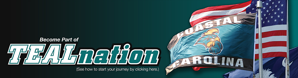Graphic banner for Coastal Carolina University admissions. Become part of Teal Nation. Start your journey by clicking here.
