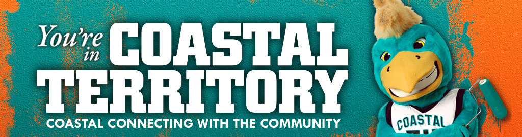 You're in Coastal Territory - Coastal Connecting with the Community banner with Chauncy painting