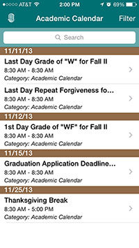 CCU mobile academic calendar screen