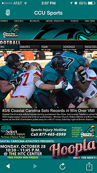 CCU mobile sports news and events screen