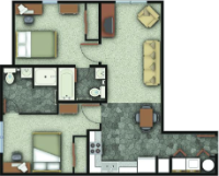 a floorplan of the two bedroom apartments in UP I/II. Individual bedrooms and bathrooms.