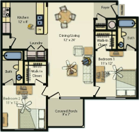 a floorplan of the two bedroom layout for UP III. individual bedrooms, private bathrooms, full kitchen