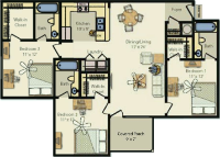 a floorplan of the three bedroom layout for UP III. Individual bedrooms, private bathrooms, full kitchen