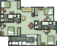 a floorplan of the four bedroom layout for UP I/II. Individual bedrooms, private bathrooms, two shared shower/tubs.
