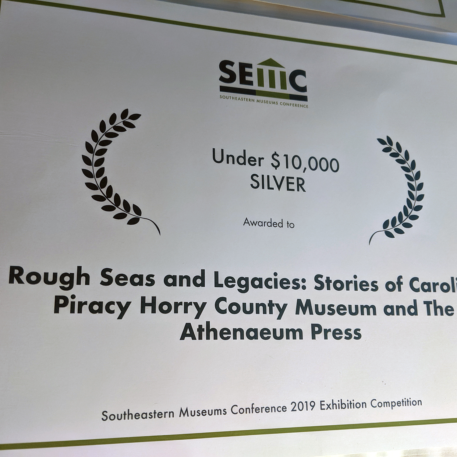 The Athenaeum Press won silver at a museum conference in Charleston.